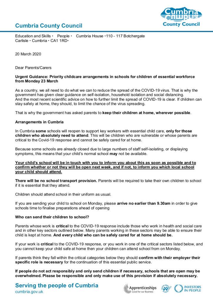20.3.20 Covid-19 letter to parents part 1