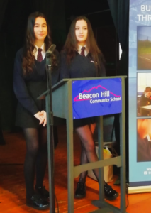 Students giving speach